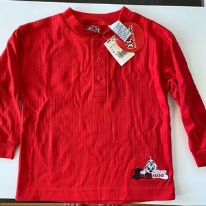 101 Dalmatians kids red henley long sleeve shirt